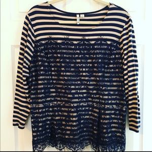 Elle pink and blue striped top with lace overlay